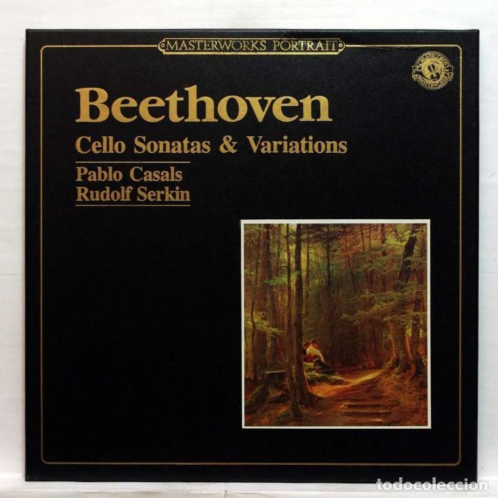 BEETHOVEN CELLO SONATAS & VARIATIONS PABLO CASALS, CELLO / RUDOLF SERKIN, PIANO CBS MASTERWORKS (Música - Discos - LP Vinilo - Clásica, Ópera, Zarzuela y Marchas)
