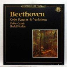 Discos de vinilo: BEETHOVEN CELLO SONATAS & VARIATIONS PABLO CASALS, CELLO / RUDOLF SERKIN, PIANO CBS MASTERWORKS. Lote 168194108