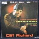 Discos de vinilo: CLIFF RICHARD - CONGRATULATIONS / HIGH ´N´ DRY - SINGLE. Lote 168195796