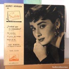 Discos de vinilo: AUDREY HEPBURN EN SABRINA EP LA VOZ DE SU AMO EDIC ESPAÑA DISCO EXCELENTE. Lote 168204396