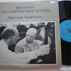 Discos de vinilo: PABLO CASALS RUDOLF SERKIN - BEETHOVEN, THE COMPLETE SONATAS - DOBLE LP UK CBS 1978 // COMO NUEVOS. Lote 168211424