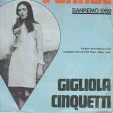 Discos de vinilo: GIGLIOLA CINQUETTI L'ORAGE SANREMO 1969 HOLLAND VGVG . Lote 168256464