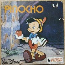 Discos de vinilo: WALT DISNEY - PINOCHO (CUENTODISCO) - SINGLE BRUGUERA 1967 . Lote 168286576
