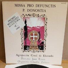 Discos de vinilo: AGRUPACIÓN CORAL DE ELIZONDO / MISSA PRO DEFUNCTIS P. DONOSTIA / LP GATEFOLD-1982 / MBC. ***/***. Lote 168298288
