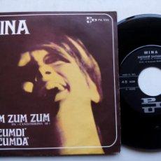 Discos de vinilo: MINA. ZUM ZUM ZUM. SINGLE PDU PA1016. ITALIA 1968. SACUMDÌ SACUMDÀ. . Lote 168381128
