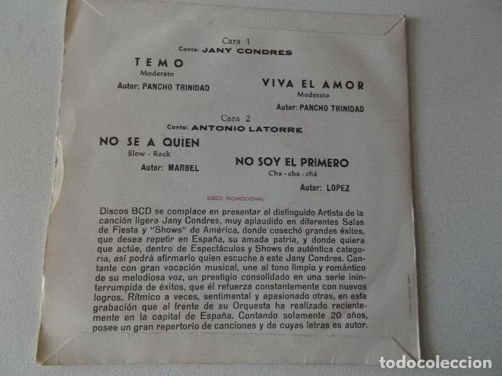 Discos de vinilo: JANY CONDRES Y ANTONIO LATORRE / TEMO , VIVA EL AMOR / NO SE A QUIEN / NO SOY EL PRIMERO / EP BCD - Foto 2 - 168457684