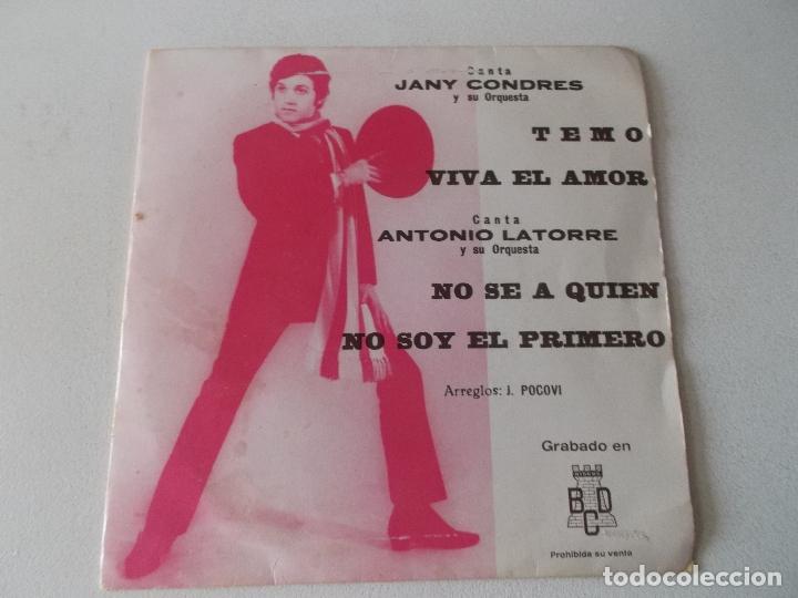 JANY CONDRES Y ANTONIO LATORRE / TEMO , VIVA EL AMOR / NO SE A QUIEN / NO SOY EL PRIMERO / EP BCD (Música - Discos de Vinilo - EPs - Grupos Españoles de los 70 y 80)