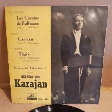 Discos de vinilo: ORQUESTA FILARMONÍA / VON KARAJAN / CUENTOS DE HOFFMANN / EP-VOZ DE SU AMO / MBC. ***/***. Lote 168459540