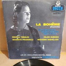 Discos de vinilo: LA BOHEME - PUCCINI / VARIOS ARTISTAS / EP - DECCA-AÑOS '50 / MBC. ***/***. Lote 168460508