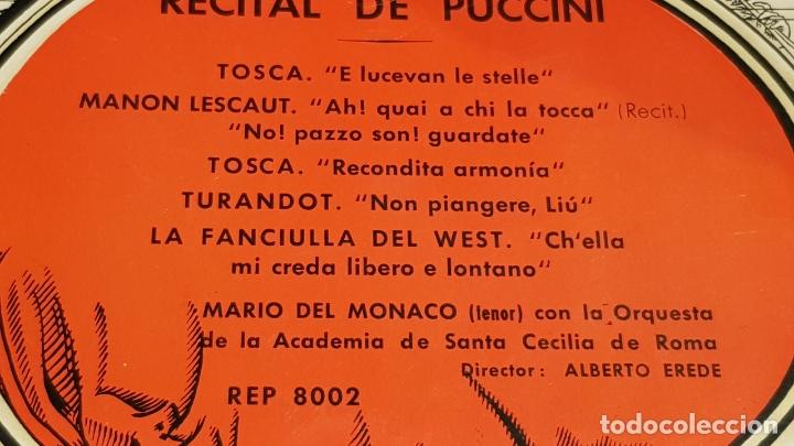 Discos de vinilo: MARIO DEL MONACO / RECITAL DE PUCCINI / EP - DECCA-AÑOS '50 / CASI LUJO. - Foto 2 - 168483352