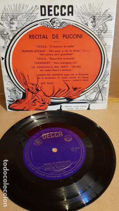 MARIO DEL MONACO / RECITAL DE PUCCINI / EP - DECCA-AÑOS '50 / CASI LUJO. (Música - Discos de Vinilo - EPs - Clásica, Ópera, Zarzuela y Marchas)