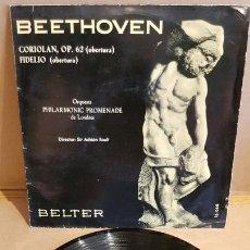 Discos de vinilo: BEETHOVEN / CORIOLAN - FIDELIO / EP - BELTER-1961 / MBC. ***/***. Lote 168484032
