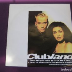 Discos de vinilo: CLUBLAND + ZEMYA HAMILTON ‎SG EASTWEST 1992 - SET ME FREE (I'M ON FIRE) +1 - ELECTRONICA DISCO HOUSE. Lote 168517424