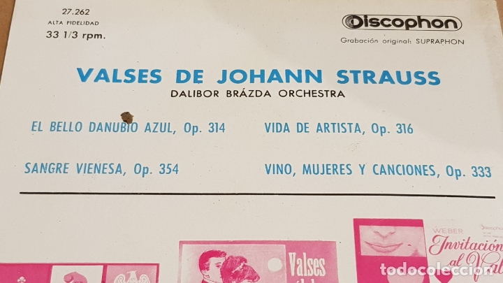 Discos de vinilo: DALIBOR BRÁZDA ORCHESTRA / VALSES DE JOHANN STRAUSS / EP-33RPM - DISCOPHON-1963 / MBC. ***/*** - Foto 3 - 168538032