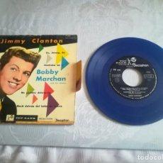 Discos de vinilo: MUY RARO JIMMY CLANTON / GO, JIMMY, GO / ROCK DETRAS DEL TELON DE ACERO (EP) AZUL. Lote 168544992