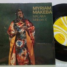 Discos de vinilo: MYRIAM MAKEBA - MALCOM X +1 - SINGLE SONAFRIC 1975 // COOL FEMME SOUL DEEP FUNKY BEATS BREAKS. Lote 168558112