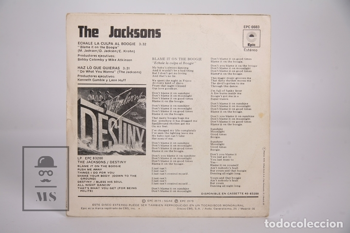 Discos de vinilo: Disco Single De Vinilo - The Jacksons / Echale la Culpa al Boogie - Epic - Año 1979 - Foto 3 - 168596378