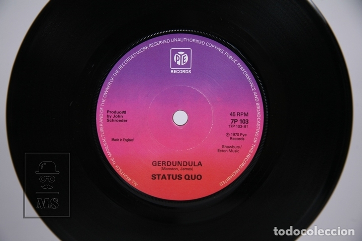 Discos de vinilo: Disco Single De Vinilo - Status Quo / In My Chair, Gerdundula - PYE Records - Año 1970 - Inglaterra - Foto 2 - 168596873