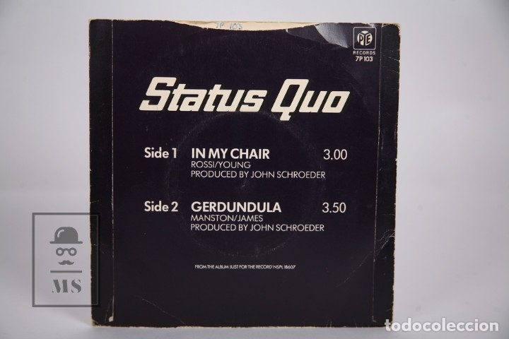 Discos de vinilo: Disco Single De Vinilo - Status Quo / In My Chair, Gerdundula - PYE Records - Año 1970 - Inglaterra - Foto 3 - 168596873