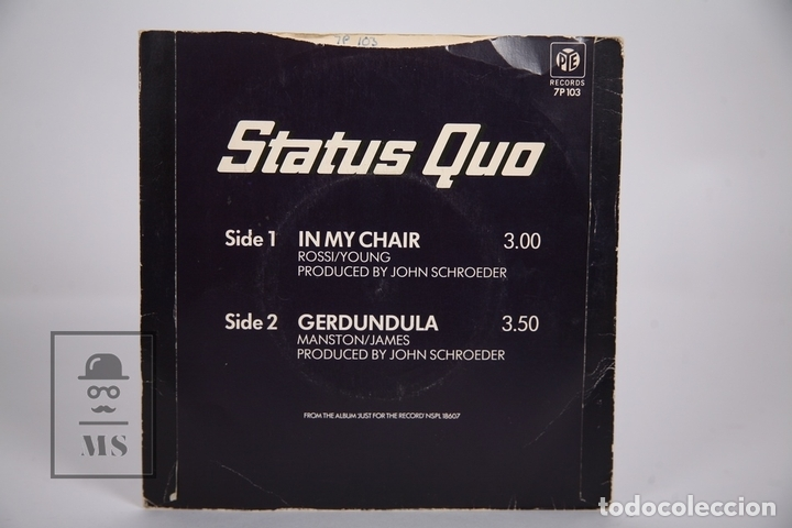 Discos de vinilo: Disco Single De Vinilo - Status Quo / In My Chair, Gerdundula - PYE Records - Año 1970 - Inglaterra - Foto 4 - 168596873