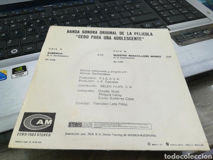 Discos de vinilo: ALFONSO SANTISTEBAN SINGLE BSO CEBO PARA UNA ADOLESCENTE ESPAÑA 1973 - Foto 2 - 36851180