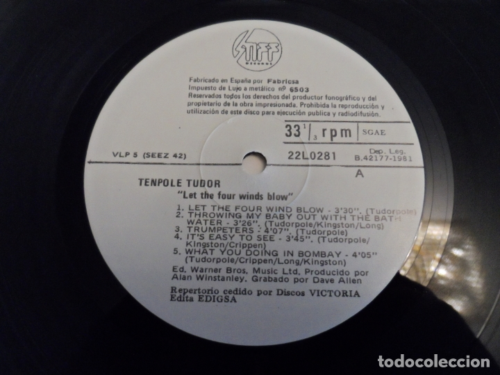 Discos de vinilo: TENPOLE TUDOR - LET THE FOUR WINDS BLOW - Foto 3 - 168806828