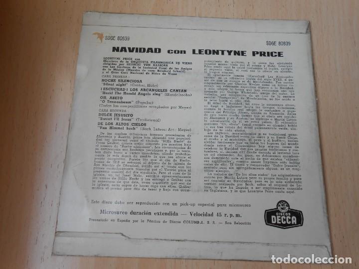 Discos de vinilo: LEONTYNE PRICE con VON KARAJAN, EP, NOCHE SILENCIOSA + 3, AÑO 1963 - Foto 2 - 168812564