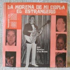 Discos de vinilo: JOSE PASARIUS Y LOS MORENO – EL ESTRANGERO / LA MORENA DE MI COPLA - ULTRA RARO MONOPOLE COMO NUEVO. Lote 168851576