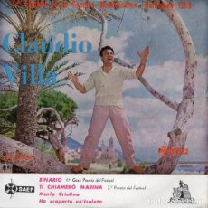 Discos de vinilo: CLAUDIO VILLA , BINARIO + 3 - 1ER FESTIVAL DE LA CANCION - EP SAEF 1959 . Lote 169052792