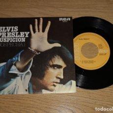 Discos de vinilo: ELVIS PRESLEY SINGLE SOSPECHA, EDICION ESPAÑOLA 1977 (COMO NUEVO) (COMPRA MINIMA 15 EUR). Lote 169060168