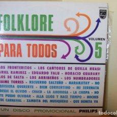 Discos de vinilo: FOLKLORE PARA TODOS VOLUMEN 5. LOS FRONTERIZOS, HORACIO GUARANY Y OTROS – LP PHILIPS ARGENTINA 85009. Lote 169071080