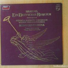 Discos de vinilo: BRAHMS - EIN DEUTSCHES REQUIEM - CONTIENE FOLLETO - BOX 2 LP. Lote 169170786