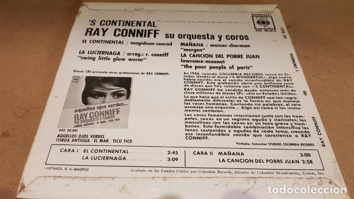Discos de vinilo: RAY CONNIFF / S CONTINENTAL / EP - CBS-1962 / MBC. ***/*** - Foto 2 - 169180936