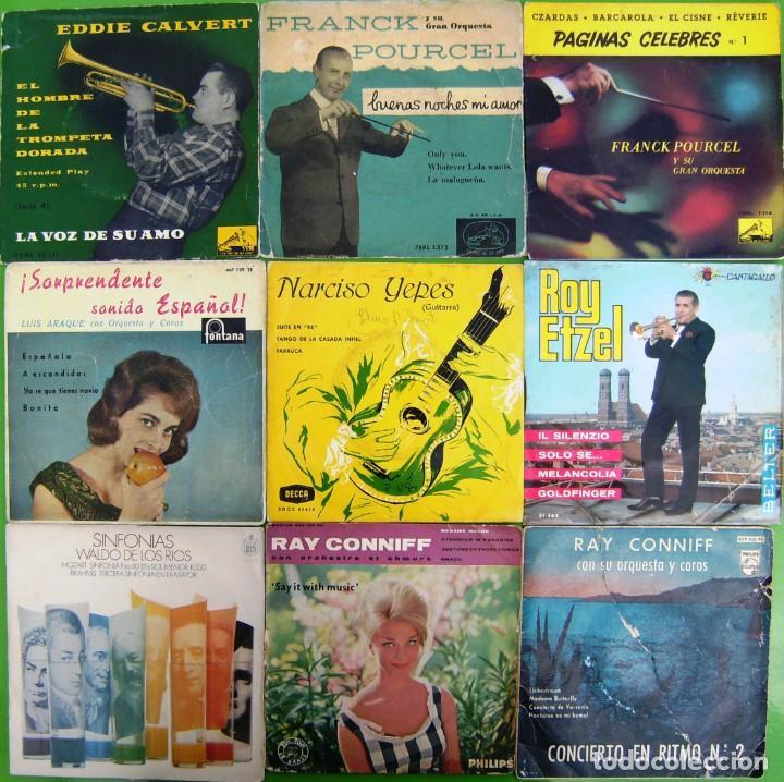 LOTE 9 SINGLES: EDDIE CALVERT, WALDO DE LOS RIOS, RAY CONNIFF, NARCISO YEPES, LUIS ARAQUE (Música - Discos - Singles Vinilo - Orquestas)