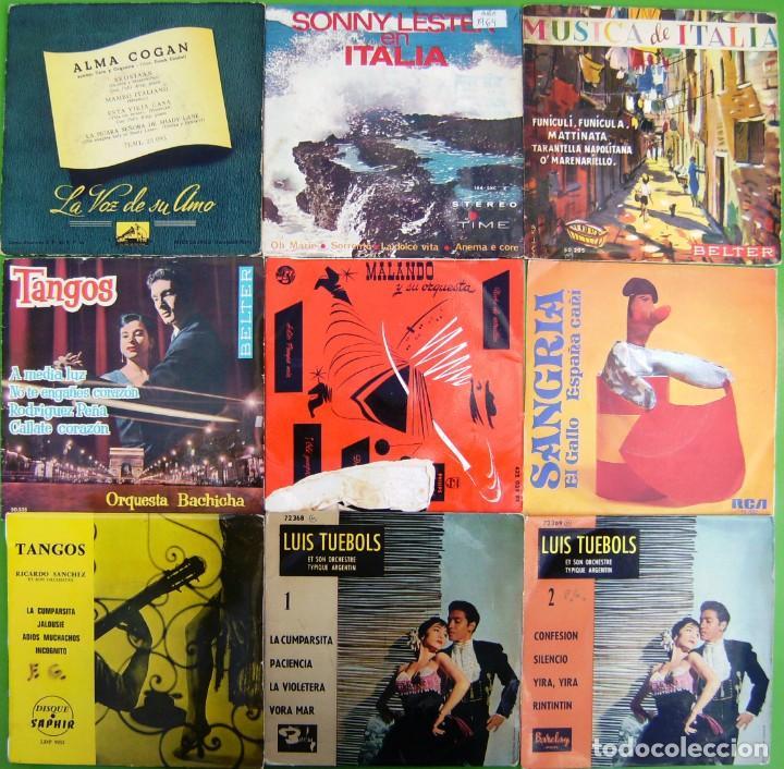 LOTE 9 SINGLES: TANGOS, MUSICA DE ITALIA, SANGRIA (PASODOBLES), SONNY LESTER, ALMA COGAN (Música - Discos - Singles Vinilo - Orquestas)
