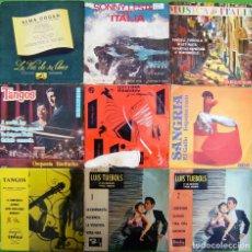 Discos de vinilo: LOTE 9 SINGLES: TANGOS, MUSICA DE ITALIA, SANGRIA (PASODOBLES), SONNY LESTER, ALMA COGAN. Lote 169242704