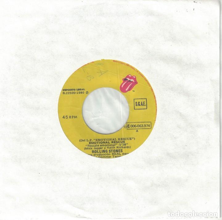 THE ROLLING STONES - EMOTIONAL RESCUE/DOWN IN THE HOLE (SINGLE ESPAÑOL, ROLLING STONES RECORDS1980) (Música - Discos - Singles Vinilo - Pop - Rock - Extranjero de los 70)