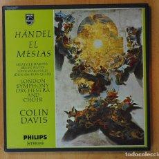 Discos de vinilo: HANDEL / COLIN DAVIS - EL MESIAS - CONTIENE LIBRETO - BOX 3 LP. Lote 169294960