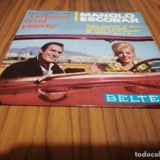 Discos de vinilo: MANOLO ESCOBAR. UN BESO EN EL PUERTO. BANDA SONORA DE LA PELÍCULA. SINGLE EN BUEN ESTADO. . Lote 169355236