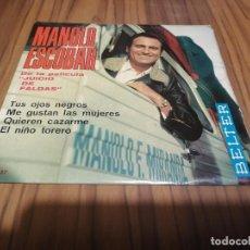 Discos de vinilo: MANOLO ESCOBAR. JUICIO DE FALDAS. EP SINGLE. BUEN ESTADO. TUS OJOS NEGROS. ME GUSTAN LAS MUJERES..... Lote 169355884