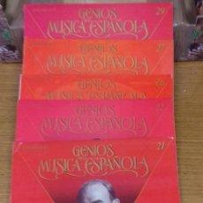 Discos de vinilo: LOTE DE 5 LP'S DE VINILO. GENIOS DE LA MÚSICA ESPAÑOLA. SOROZABAL, P. DOMINGO, PILAR LORENGA, ETC,. Lote 169360008