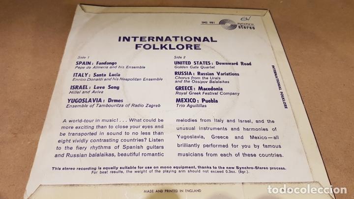 Discos de vinilo: INTERNATIONAL FOLKLORE / EP - CONCERT HALL-1966 / 8 TEMAS / MBC. ***/*** - Foto 2 - 169404688