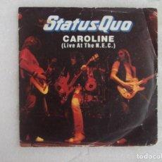 Discos de vinilo: STATUS QUO, CAROLINE, LIVE AT THE N.E.C. SINGLE EDICION INGLESA 1982 VERTIGO. Lote 169428880