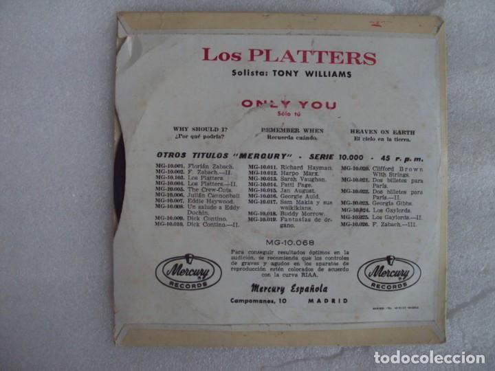 Discos de vinilo: THE PLATTERS, ONLY YOU, EP EDICION ESPAÑOLA AÑOS 60-70 MERCURY - Foto 2 - 169430120