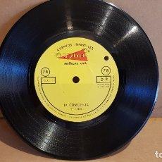 Discos de vinilo: SOLO DISCO !! LA CENICIENTA / CUENTOS INFANTILES TYBER - MUÑECAS ONIL / 78 RPM - 1963 / MBC. ***. Lote 169564920