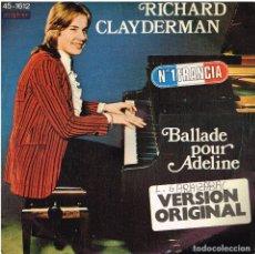 Disques de vinyle: RICHARD CLAYDERMAN - BALLADE POUR ADELINE (2 VERSIONES) - SINGLE 1977. Lote 169585244