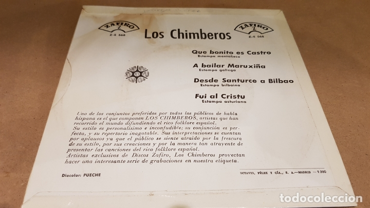 Discos de vinilo: LOS CHIMBEROS / QUE BONITO ES CASTRO / EP - ZAFIRO-1964 / MBC. ***/*** - Foto 2 - 169625588
