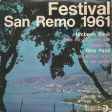 Discos de vinilo: EP GINO PAOLI UMBERTO BINDI SANREMO 1961 NON MI DIRE CHI SEI /UN UOMO VIVO FRANCE RICORDI . Lote 169685748
