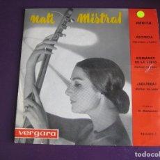 Discos de vinilo: NATI MISTRAL RECITA EP VERGARA 1962 - PROFECIA/ ROMANCE DE LA LIRIO/ SOLTERA - POESIA . Lote 169721620
