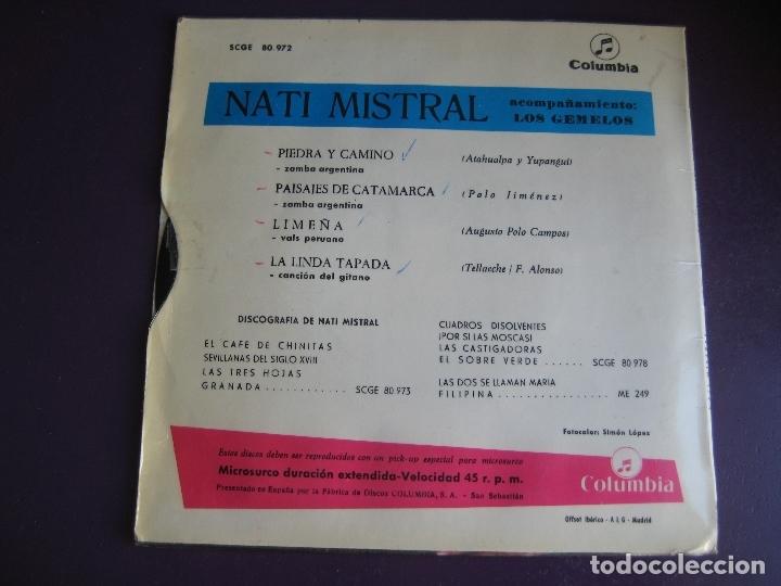 Discos de vinilo: NATI MISTRAL EP COLUMBIA 1965 piedra y camino/ paisajes de catamarca +2 ZAMBRA VALS SUDAMERICA - Foto 2 - 169721800